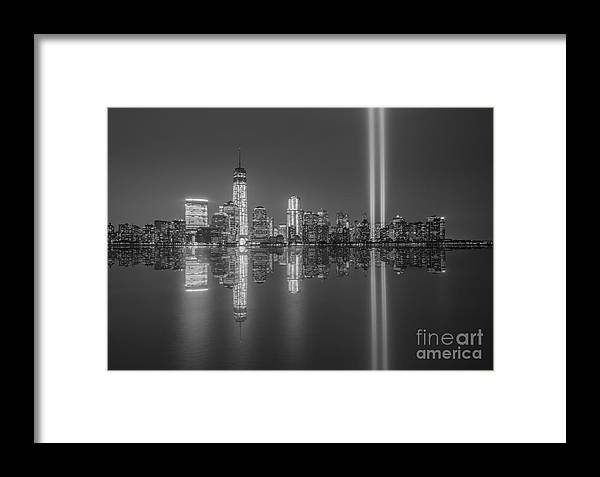 New York City Framed Print featuring the photograph Tribute In Light Reflections Bw by Michael Ver Sprill