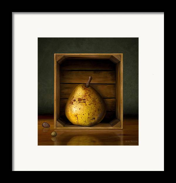 Pear Framed Print featuring the digital art Tribute To Magritte by Bob Nolin