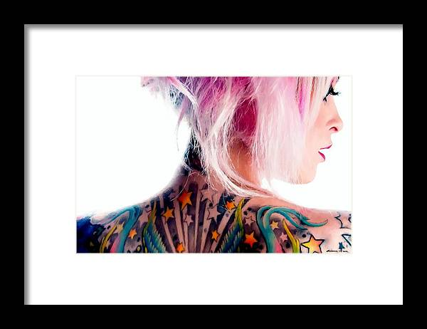 Tattoo Girl Framed Print featuring the digital art Tribute to Suicide Girls 3 by Gabriel T Toro