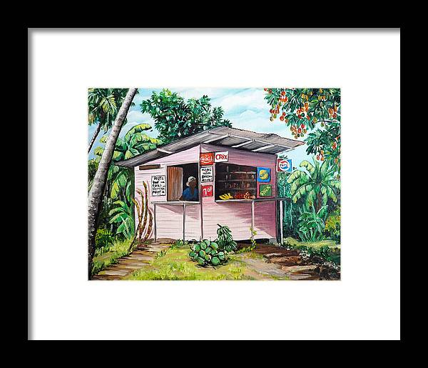 Shop Painting Framed Print featuring the painting Trini Roti Shop by Karin Dawn Kelshall- Best