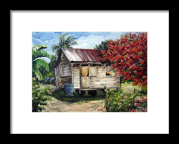 Landscape Paintings Tropical Paintings Trinidad House Paintings House Paintings Country Painting Trinidad Old Wood House Paintings Flamboyant Tree Paintings Caribbean Paintings Greeting Card Paintings Canvas Print Paintings Poster Art Paintings Framed Print featuring the painting Country Life by Karin Dawn Kelshall- Best