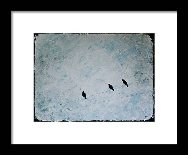 Birds Framed Print featuring the painting Trio by Jesska Hoff