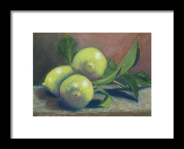 Lemons Framed Print featuring the painting Trio Of Lemons by Ellen Minter