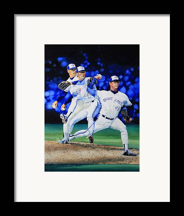 Sports Art Framed Print featuring the painting Triple Play by Hanne Lore Koehler