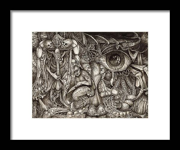 Surreal Framed Print featuring the drawing Tripping Through Bogomils Mind by Otto Rapp