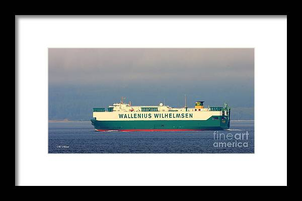 Wallenius Framed Print featuring the photograph Tristan Cargo Ship - Puget Sound Seattle Washington by Tap On Photo