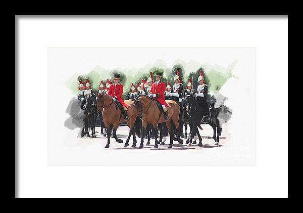Horses Framed Print featuring the digital art Trooping Of The Colour by Roger Lighterness