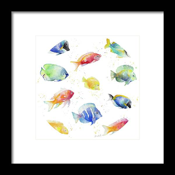 Tropical Framed Print featuring the painting Tropical Fish Round by Lanie Loreth