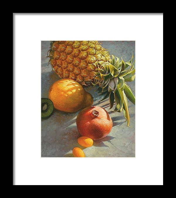 Still Life Framed Print featuring the painting Tropical Fruit by Mia Tavonatti