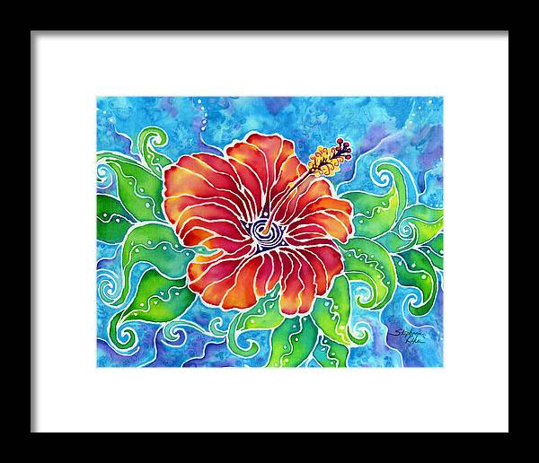 Tropical Framed Print featuring the painting Tropical Hibicus by Stephanie Kiker