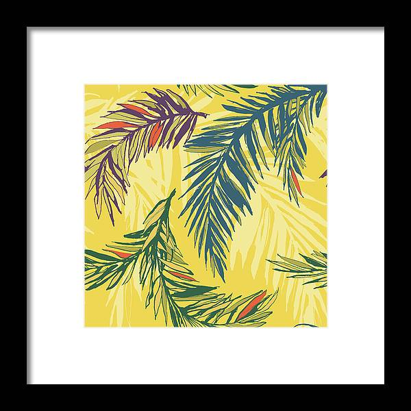 Tropical Rainforest Framed Print featuring the digital art Tropical Jungle Floral Seamless Pattern by Sv sunny