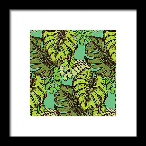 Clipping Framed Print featuring the digital art Tropical Leaves Pattern by Tom And Kwikki