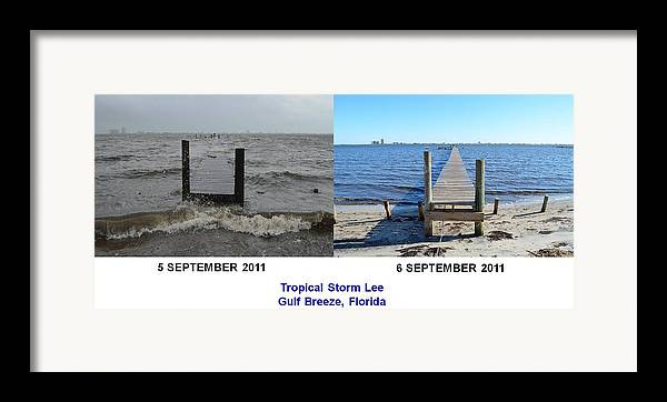 Difference Framed Print featuring the photograph Tropical Storm Lee Difference A Day Makes by Jeff at JSJ Photography