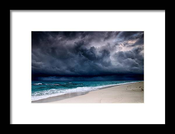 Water's Edge Framed Print featuring the photograph Tropical Storm Over The Caribbean Sea by Stevegeer