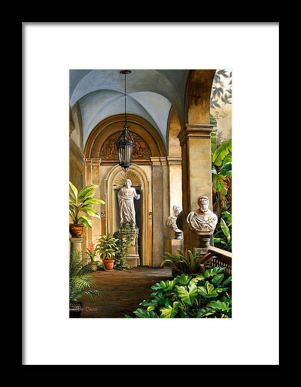 Veranda Framed Print featuring the painting Tropical Veranda by Tim Davis
