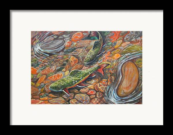 Trout Framed Print featuring the painting Trout Stream by Jenn Cunningham