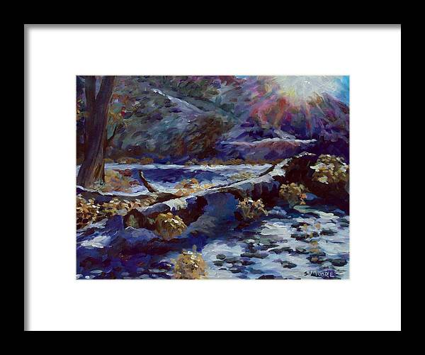 Fallen Tree Covered With Snow Framed Print featuring the painting Truckee River Snow Tree by Susan Moore