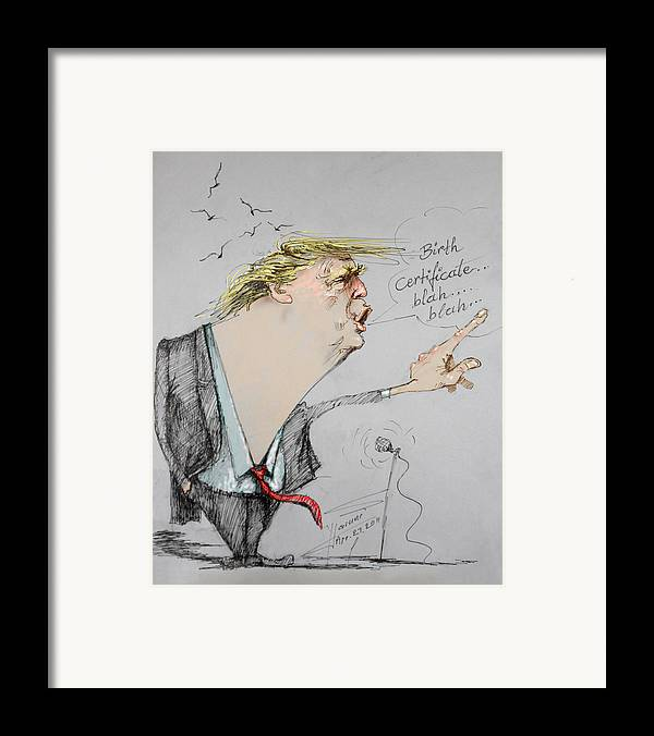 Donald Trump Framed Print featuring the drawing Trump In A Mission....much Ado About Nothing. by Ylli Haruni