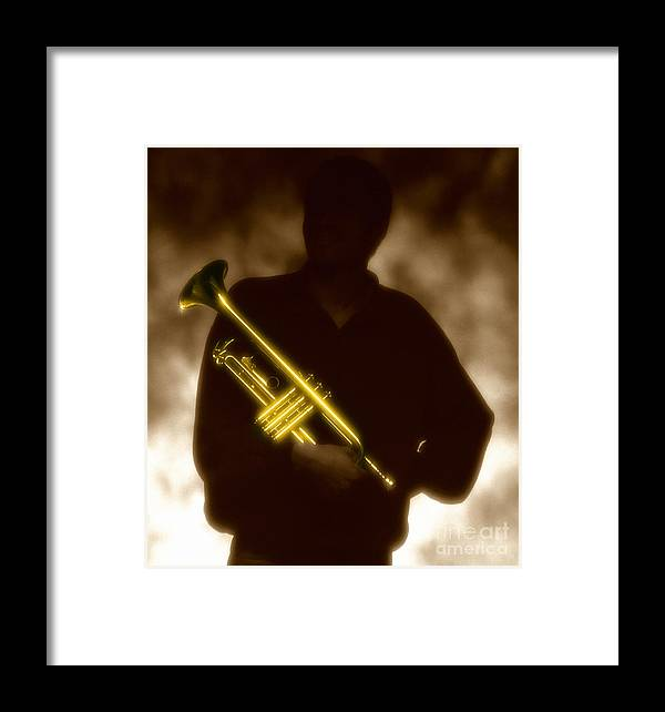 Jazz Framed Print featuring the photograph Man Holding Trumpet 1 by Tony Cordoza
