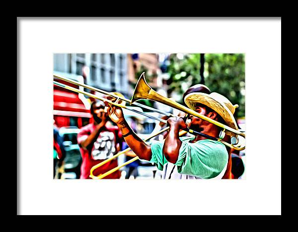 Trumpeteer Framed Print featuring the photograph Trumpeter In The Street by Alice Gipson