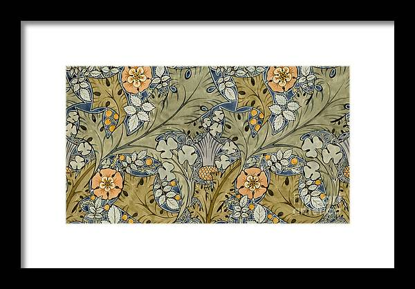 Voysey Framed Print featuring the painting Tudor Roses Thistles And Shamrock by Voysey