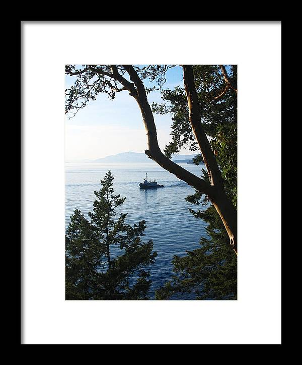Tugboat Framed Print featuring the photograph Tugboat Passes by Lorraine Devon Wilke
