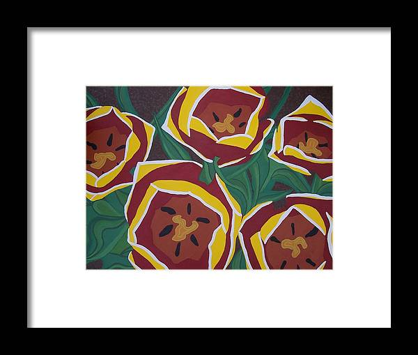 Tulips Framed Print featuring the painting Tulip Festival by Kristina Zographos