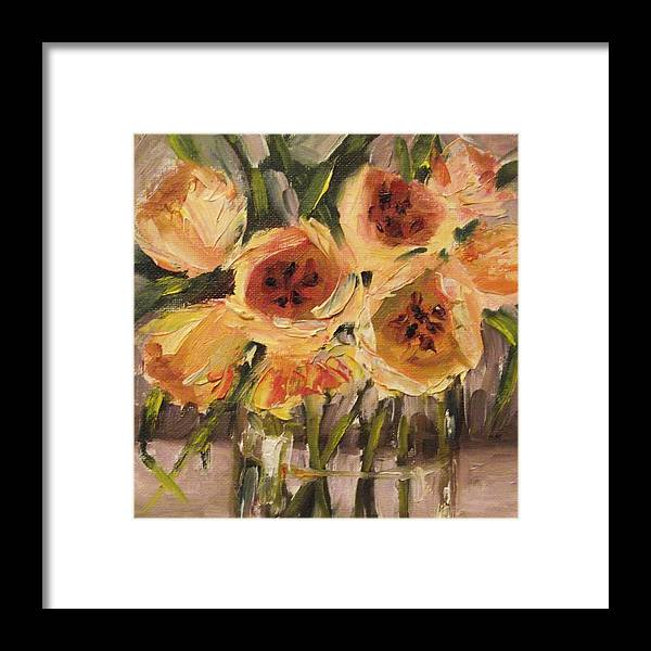 Tulips Framed Print featuring the painting Tulips In Yellow By Alabama Artist Angela Sullivan by Angela Sullivan