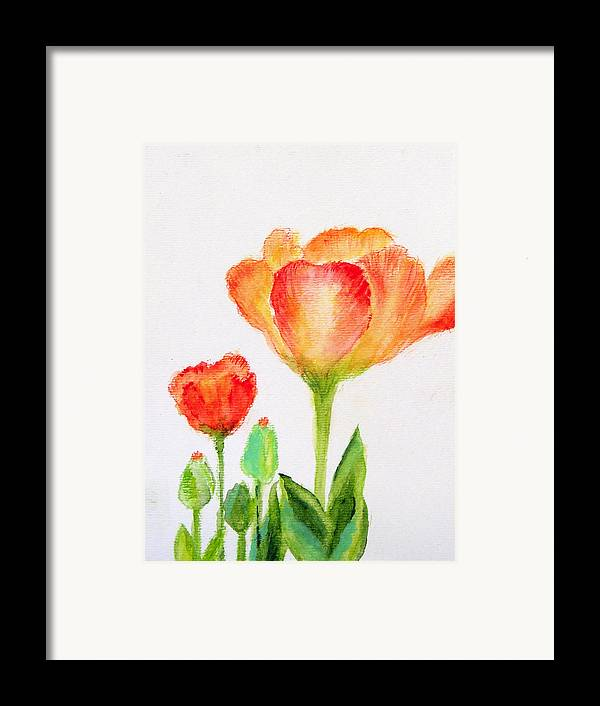 Floral Framed Print featuring the painting Tulips Orange And Red by Ashleigh Dyan Bayer