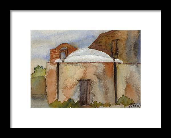 Landscape Framed Print featuring the painting Tumacacori Mission View by Julia Graf