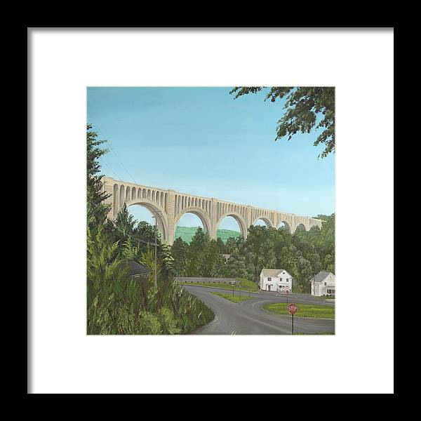 Largest Concrete Train Bridge Framed Print featuring the painting Tunkhannock Viaduct by Bob Lizza