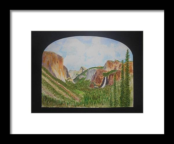 Yosemite Valley Framed Print featuring the painting Tunnel View by David McCauley