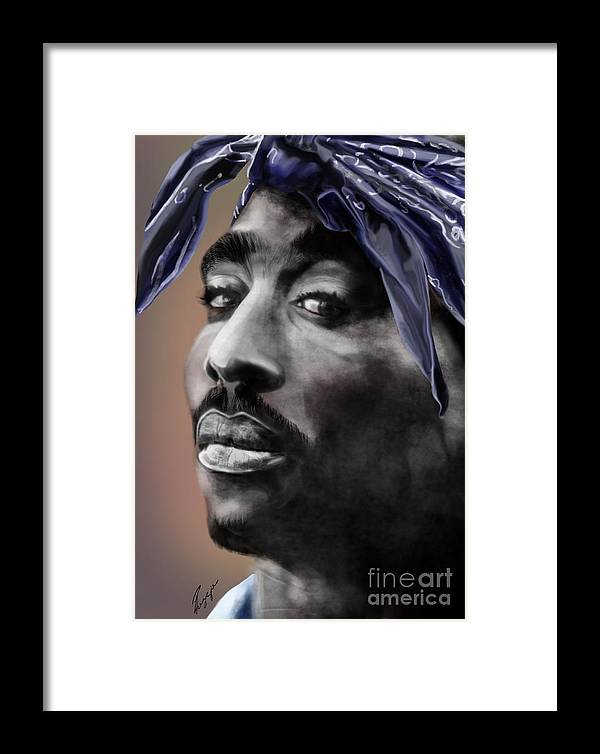 2 Pac Framed Print featuring the painting Tupac - The Tip Of The Iceberg by Reggie Duffie