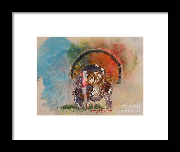 Turkey Framed Print featuring the painting Turkey Time by Mary Haley-Rocks