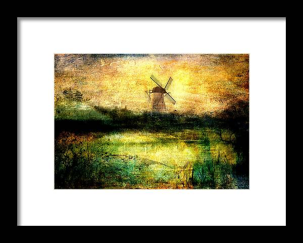 Windmill Framed Print featuring the digital art Turning Windmill by Sarah Vernon