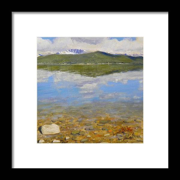 Rocky Mountains Framed Print featuring the painting Turquoise Lake by Greg Clibon