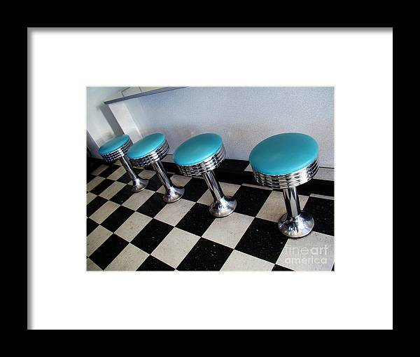 Still Life Framed Print featuring the photograph Turquoise Stools by Eva Kato