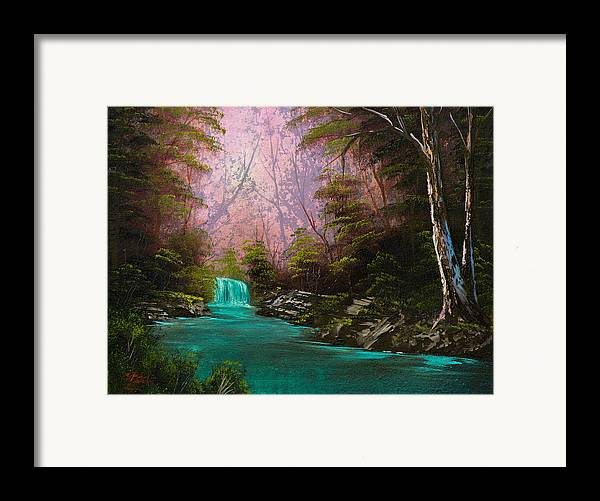 Landscape Framed Print featuring the painting Turquoise Waterfall by Chris Steele