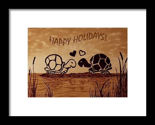 Turtle Framed Print featuring the digital art Turtle Greetings by Costinel Floricel