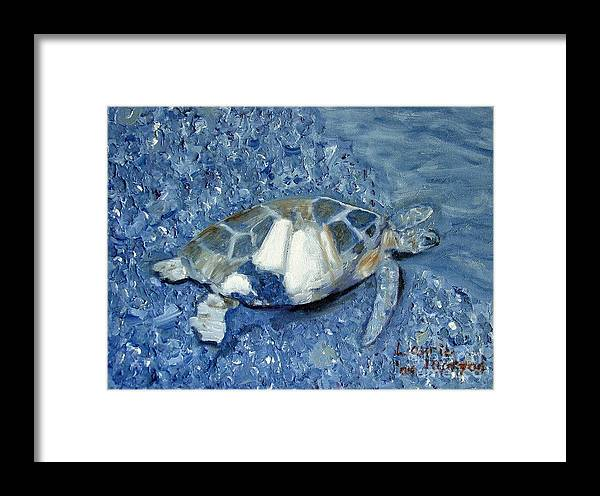 Turtle Framed Print featuring the painting Turtle On Black Sand Beach by Laurie Morgan