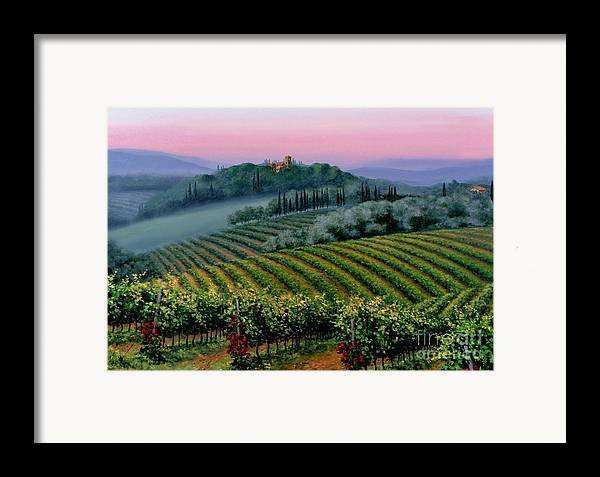 Tuscan Sunset Framed Print featuring the painting Tuscan Dusk by Michael Swanson