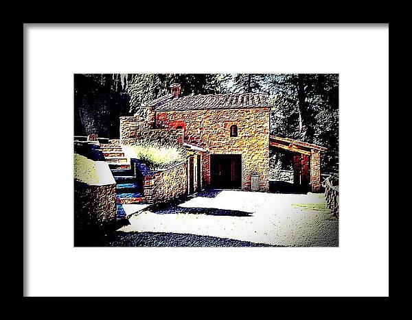 Landscape Framed Print featuring the photograph Tuscan Farmhouse by Evan Sarzin
