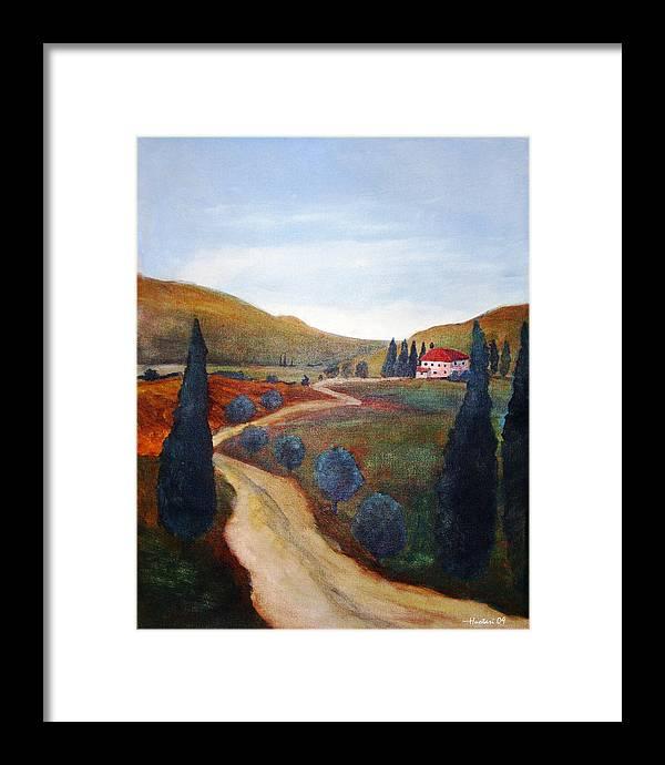 Rick Huotari Framed Print featuring the painting Tuscan Farmhouse by Rick Huotari