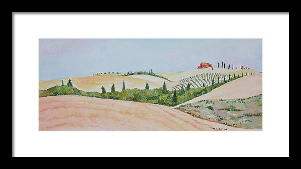 Landscape Framed Print featuring the painting Tuscan Hillside One by Mary Ellen Mueller Legault