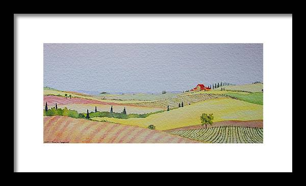 Watercolor Framed Print featuring the painting Tuscan Hillside Three by Mary Ellen Mueller Legault
