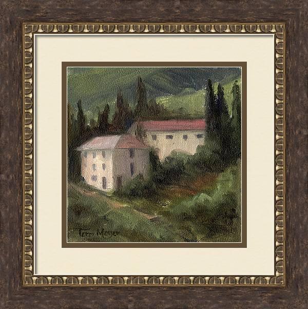 Tuscan Landscape Painting Framed Print featuring the painting Tuscan Landscape II by Terri Meyer