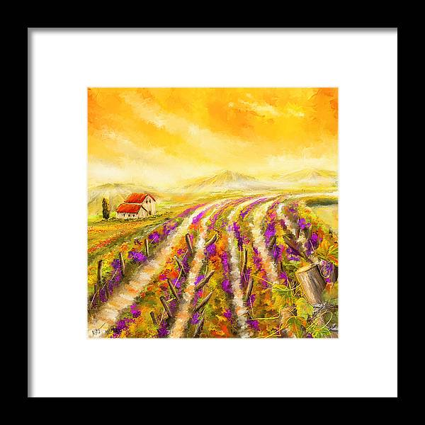 Vineyard Framed Print featuring the painting Tuscan Vineyard Sunset - Vineyard Impressionist Paintings by Lourry Legarde