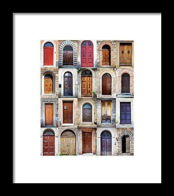 Arch Framed Print featuring the photograph Tuscan Wooden Doors, Italy by Moreiso