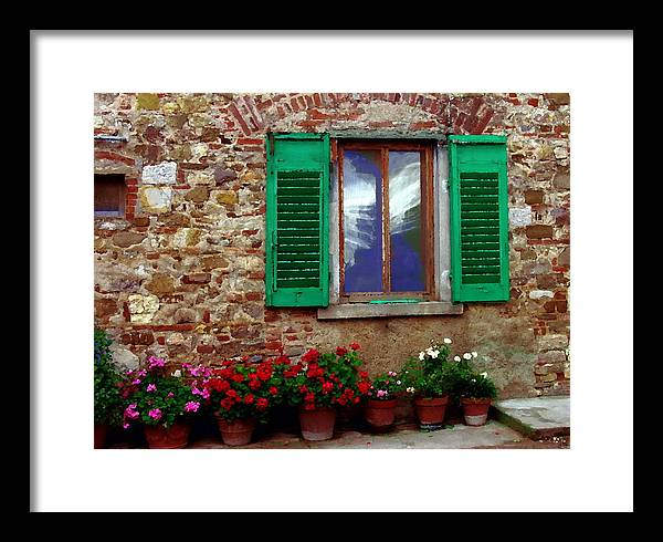 Tuscany Italy Framed Print featuring the photograph Tuscany - Flower Pots In Chianti by Jacqueline M Lewis