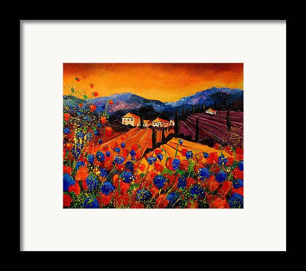Poppies Framed Print featuring the painting Tuscany Poppies by Pol Ledent